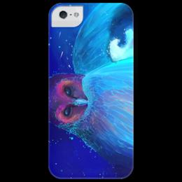 """Чехол для iPhone 5 глянцевый, с полной запечаткой """"Сова и космос """" - арт, space, рисунок, космос, сова, abstract, owl"""
