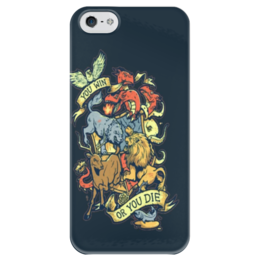 """Чехол для iPhone 5 глянцевый, с полной запечаткой """"You Win or You Die"""" - арт, tattoo, print, тату"""