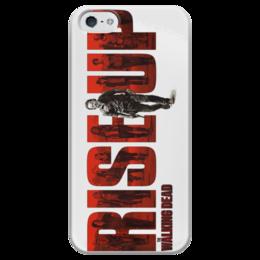 """Чехол для iPhone 5 глянцевый, с полной запечаткой """"Ходячие мертвецы / The Walking Dead"""" - комикс, рисунок, кино, зомби, сериал"""