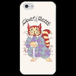 """Чехол для iPhone 5 глянцевый, с полной запечаткой """"Кот в сапогах"""" - кот в сапогах, cat in the boots, кот"""