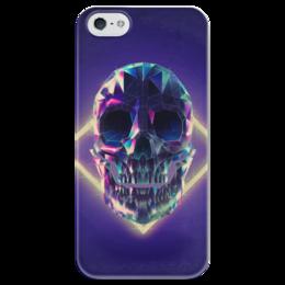 """Чехол для iPhone 5 глянцевый, с полной запечаткой """"Low poly skull"""" - skull, череп, полигон"""