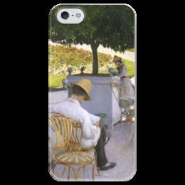 """Чехол для iPhone 5 глянцевый, с полной запечаткой """"Апельсиновые деревья (картина Кайботта)"""" - картина, кайботт"""
