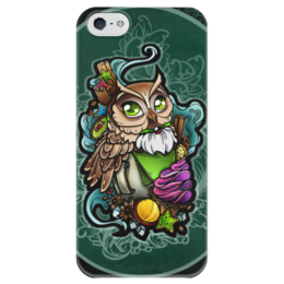 """Чехол для iPhone 5 глянцевый, с полной запечаткой """"Сова-кофе"""" - арт, сова, кофе, owl"""