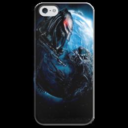 """Чехол для iPhone 5 глянцевый, с полной запечаткой """"Чужой против Хищника / Alien vs Predator"""" - хищник, рисунок, кино, чужой"""