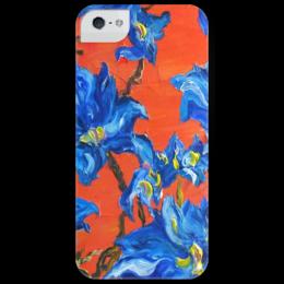 "Чехол для iPhone 5 глянцевый, с полной запечаткой ""Синие цветы"" - арт, цветы, red, blue"