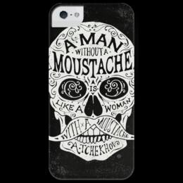 """Чехол для iPhone 5 глянцевый, с полной запечаткой """"Череп """" - skull, череп, прикол, юмор, man, рисунок, фразы, черно-белое, усы, moustache"""