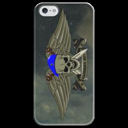"""Чехол для iPhone 5 глянцевый, с полной запечаткой """"ВДВ !!!"""" - армия, нож, вдв, десант, голубой берет"""