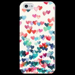 """Чехол для iPhone 5 глянцевый, с полной запечаткой """"Сердечки"""" - любовь, love, 14 февраля, сердечки, hearts"""