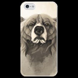 """Чехол для iPhone 5 глянцевый, с полной запечаткой """"Медведь"""" - арт, bear, grizzly, гриззли"""