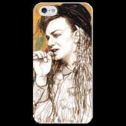 "Чехол для iPhone 5 глянцевый, с полной запечаткой ""Boy George"" - disco, поп, pop, george, boy george, бой джордж, соул, новая романтика"