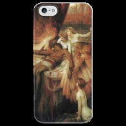"""Чехол для iPhone 5 глянцевый, с полной запечаткой """"Оплакивание Икара"""" - картина, дрейпер"""