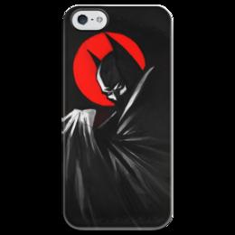 """Чехол для iPhone 5 глянцевый, с полной запечаткой """"Бэтмен"""" - комиксы, batman, бэтмен, dc, dc comica"""