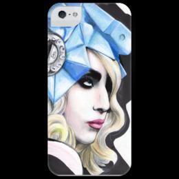 "Чехол для iPhone 5 глянцевый, с полной запечаткой ""Gagaphone"" - gaga, lady gaga, леди гага, electro, электропоп"