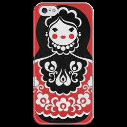 "Чехол для iPhone 5 глянцевый, с полной запечаткой ""Матрёшка"" - цветы, россия, орнамент, матрёшка"
