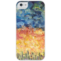 """Чехол для iPhone 5 глянцевый, с полной запечаткой """"Закат"""" - город, sky, sunset, прекрасно, красотища"""