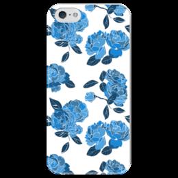 """Чехол для iPhone 5 глянцевый, с полной запечаткой """"Букет синих роз"""" - роза, розы, паттерн"""