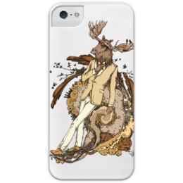 """Чехол для iPhone 5 глянцевый, с полной запечаткой """"dandy Moose"""" - денди, щеголь, лось, animal"""