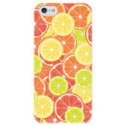 """Чехол для iPhone 5 глянцевый, с полной запечаткой """"Цитрусы"""" - апельсин, лайм, лимон, грейпфрут, дольки"""