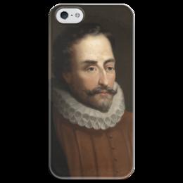"""Чехол для iPhone 5 глянцевый, с полной запечаткой """"Портрет Мигеля Сервантеса"""" - картина, балака"""