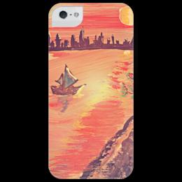 """Чехол для iPhone 5 глянцевый, с полной запечаткой """"Лунная дорожка"""" - арт, ночь, в подарок, луна, ночной город, яхта, морской пейзаж, лунный свет"""