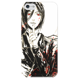 "Чехол для iPhone 5 глянцевый, с полной запечаткой ""Себастьян Микаэлис"" - темный дворецкий, kuroshitsuji, black butler, black roses, себастьян микаэлис"