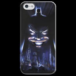 """Чехол для iPhone 5 глянцевый, с полной запечаткой """"Batman/Бэтмен"""" - арт, joker, комиксы, batman, бетмен"""