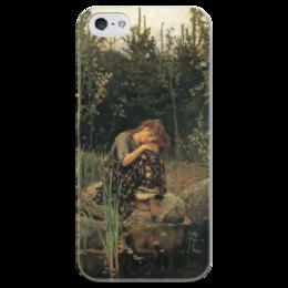 """Чехол для iPhone 5 глянцевый, с полной запечаткой """"Алёнушка (картина Васнецова)"""" - картина, васнецов"""
