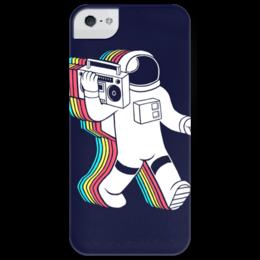 """Чехол для iPhone 5 глянцевый, с полной запечаткой """"Радужный космонавт"""" - space, космос, moon walk, редкие"""