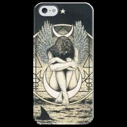 "Чехол для iPhone 5 глянцевый, с полной запечаткой ""Одинокий ангел"" - ангел, angel, одинокий ангел"