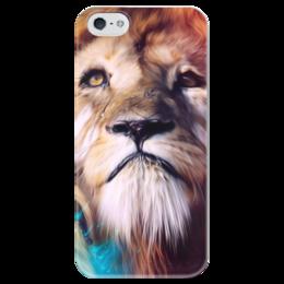"""Чехол для iPhone 5 глянцевый, с полной запечаткой """"Царь зверей"""" - лев, краски, царь зверей, грива"""