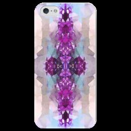 """Чехол для iPhone 5 глянцевый, с полной запечаткой """"Аметист """" - серый, белый, голубой, фиолетовый"""