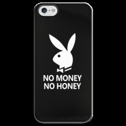 """Чехол для iPhone 5 глянцевый, с полной запечаткой """"No money, no honey"""" - юмор, playboy, кролик"""