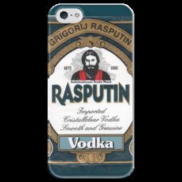 """Чехол для iPhone 5 глянцевый, с полной запечаткой """"RASPUTIN"""" - водка, распутин, rasputin, григорий распутин"""