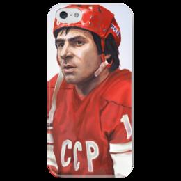 """Чехол для iPhone 5 глянцевый, с полной запечаткой """"Валерий Харламов"""" - хоккей, сборная россия по хоккею, валерий харламов"""