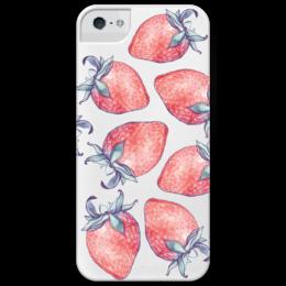 """Чехол для iPhone 5 глянцевый, с полной запечаткой """"Клубничная поляна"""" - ягоды, клубника, ягода, подарок, креативно, чехол"""