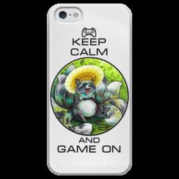 """Чехол для iPhone 5 глянцевый, с полной запечаткой """"Raccoon gamer"""" - gamer, keep calm, енот, raccoon"""