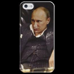 """Чехол для iPhone 5 глянцевый, с полной запечаткой """"Тони Монтана"""" - россия, политика, путин, тони монтана, крестный"""