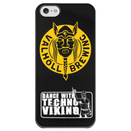 """Чехол для iPhone 5 глянцевый, с полной запечаткой """"Танцуй с техно-викингом!"""" - юмор, приколы, свобода, путь воина, техно-викинг"""