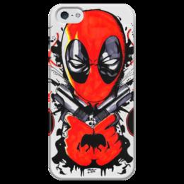 """Чехол для iPhone 5 глянцевый, с полной запечаткой """"Deadpool """" - арт, deadpool, детпул, дедпул"""