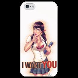 "Чехол для iPhone 5 глянцевый, с полной запечаткой ""I Want You"" - пинап, плакат, i want you"