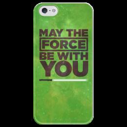 """Чехол для iPhone 5 глянцевый, с полной запечаткой """"May the force be with you"""" - star wars, звездные войны, сила, 4 мая"""