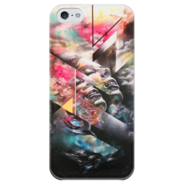 """Чехол для iPhone 5 глянцевый, с полной запечаткой """"Девушка"""" - арт, девушка, цвета, рисунок"""