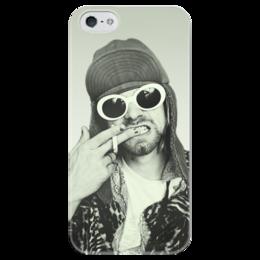 "Чехол для iPhone 5 глянцевый, с полной запечаткой ""Курт Кобейн"" - курт кобейн, kurt cobain, музыка, нирвана, nirvana"