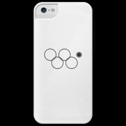 """Чехол для iPhone 5 глянцевый, с полной запечаткой """"Олимпийские кольца в Сочи 2014"""" - нераскрывшееся олимпийское кольцо, олипийские кольца, олимпиада, сочи-2014"""