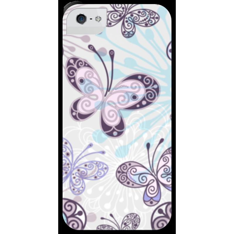 Чехол для iPhone 5 с подставкой, с полной запечаткой Printio Фиолетовые бабочки какой iphone лучше для россии