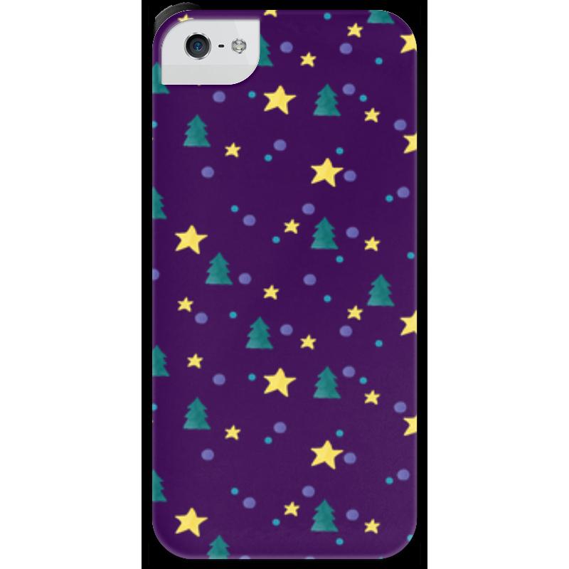 Чехол для iPhone 5 с подставкой, с полной запечаткой Printio Елки и звезды нашествие дни и ночи