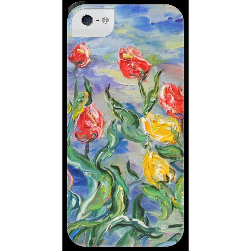 Чехол для iPhone 5 с подставкой, с полной запечаткой Printio Тюльпаны зверев с свинцовые тюльпаны