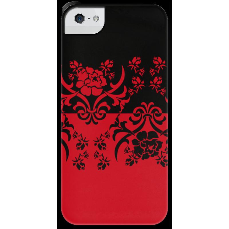 Чехол для iPhone 5 с подставкой, с полной запечаткой Printio Красно-черное чехол флип для lenovo p90 k80m белый с цветочным узором armorjacket