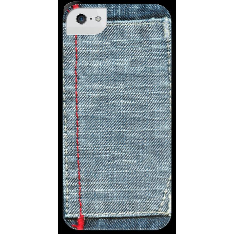 Чехол для iPhone 5 с подставкой, с полной запечаткой Printio Джинса