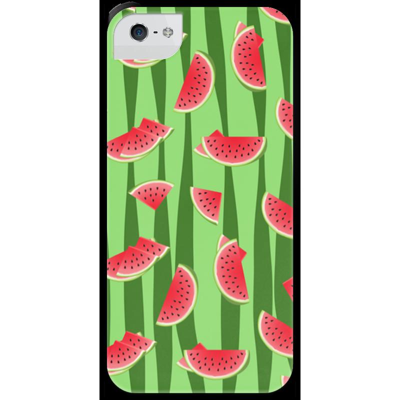 Чехол для iPhone 5 с подставкой, с полной запечаткой Printio Арбуз чехол для карточек фламинго на зеленом фоне дк2017 099